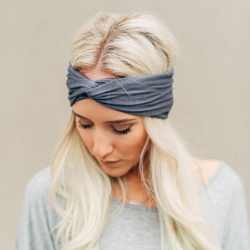 Women Cotton Turban Twist Knot Head Wrap Girls Cross