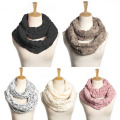 Women Winter Warm Infinity Circle Cable Cowl Neck Faux Fur Collar Scarves Shawl -Y107