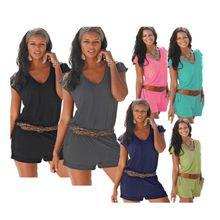 Women Summer V-Neck Short Sleeve Casual Jumpsuit Solid Playsuit