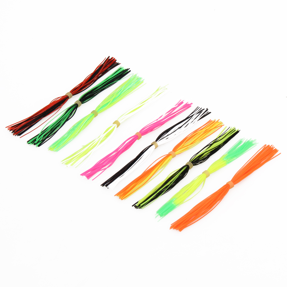 10 Bundles Silicone Skirts Fishing Accessories DIY Legs Barred Flake Fly Tying Rubber Material Jig Lures Squid Rubber Skirt New