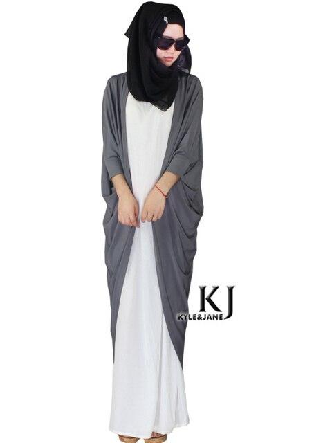 Grau Tunika Outwear Abaya Party Kleid Traditionelle Islamische ...