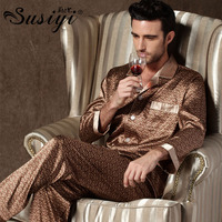Male Silk Pajama Set Men Summer Sleepwear Male Long Sleeve Lounge Set Silk Lounge Plus Size