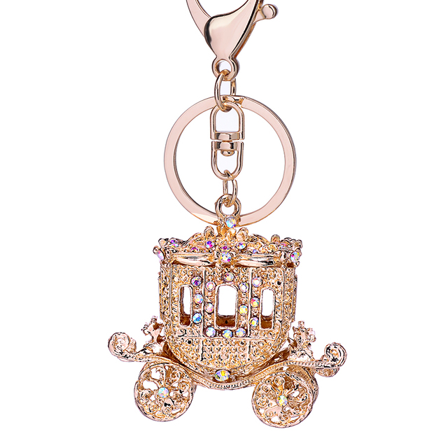 7b38b9dfdc346 Fairy Tale Golden Pumpkin Carriage Rhinestone Keychain Alloy Keyring Charm  Car Key Chain Ring Holder Women Bag Jewelry Gift R138