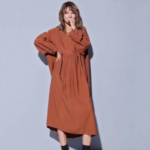 Image 4 - CHICEVER 2020 sonbahar elbiseler büyük boyutları V boyun uzun kollu gevşek büyük boy Midi elbise kadın nedensel elbise yeni