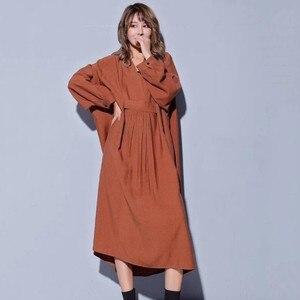 Image 4 - Vestido midi feminino, vestido midi tamanho grande gola v manga comprida solto roupas casuais para outono 2020