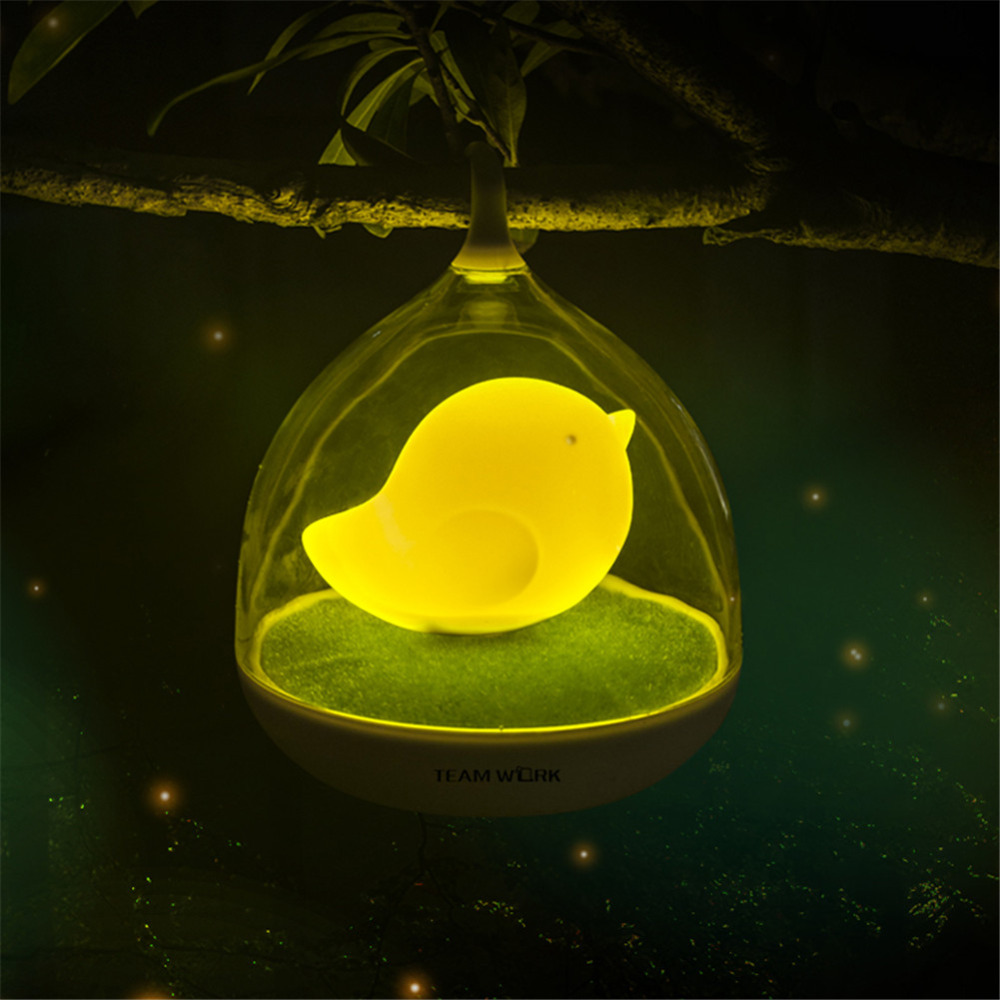 IMINOVO Night Light Lamps Rechargeable Creative Birdcage LED Night Lamp For Sleep Vibration Touch Sensor Dimmable Bedside Lamp wake up light sunrise alarm clock led fm radio bedside night lamp touch sensor digital time display desktop beside night light