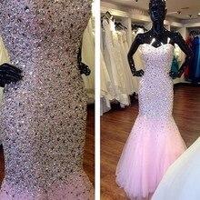 Luxus Sparkly Crystals Rosa Prom Kleider Meerjungfrau 2016 Perlen Formale Lace Up Zurück Abschlussball-partei-kleid-formales Kleid vestido de festa