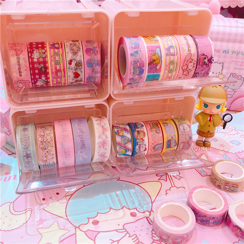 Pink Japanese Stationery Masking Tape Cutter Washi Tape Storage Organizer Cutter Office Tape Dispenser Supplies