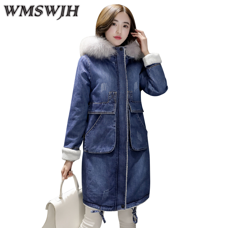 2017 Hot Plus Size Women Winter Jacket And Coat Thicken Warm Denim Jacket Female Fur Collar Hooded Long Overcoat Mujer WS219 2015 hot new winter thicken warm woman down jacket coat parkas outerwear hooded fox fur collar luxury long brand plus size 2xxl