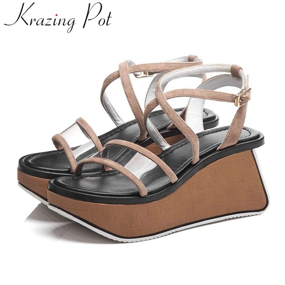 Krazing Pot peep round toe buckle strap limited customization wedges platform high bottom art design gladiator shoes sandalsL01