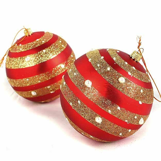 Free shipping/-057- /Christmas Decoration / red stripe ball / Christmas Ball / painted Christmas ball / Christmas decorations