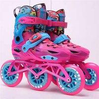 Premium Children 3 Wheels Inline Speed Skates Shoes Kids' Sneaker 3X100mm 3 wheels Roller Skatinig Patines S M L EUR 28 39 Boot