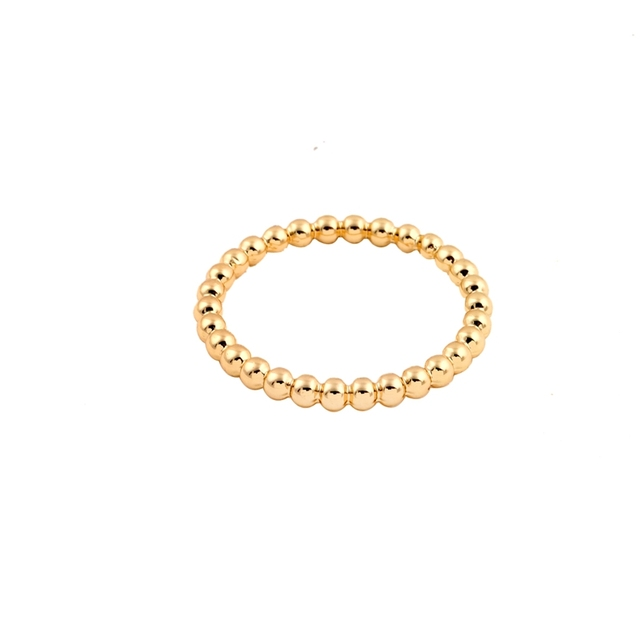 Hfarich New Gold Slim Stacking Beaded Rings for Women Full Bead Wire Rings for W