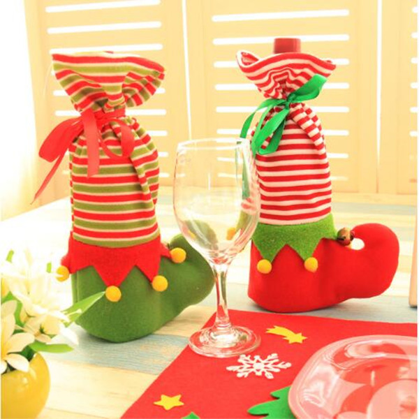 Christmas Decoration Stocking Gift Holder Christmas Elf Wine Champagne cover Christmas elf gift bags socks wine cover supplies