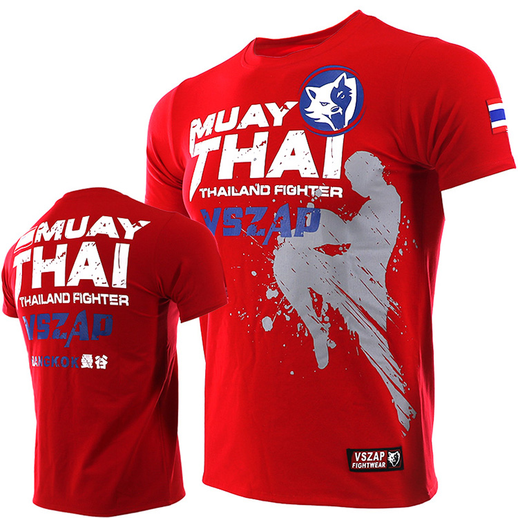 VSZAP MUAY THAI Fighting Thai Boxing MMA Sports Broadcast Short Sleeve T - Shirt Fitness Fighting Martial Arts Men
