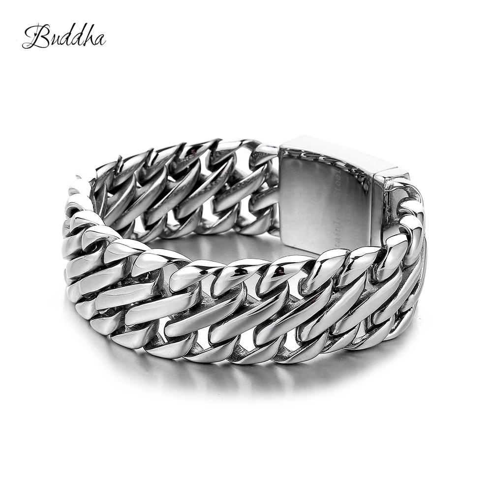 Double Curb Cuban Chain Bracelet Mens 316L Stainless Steel Wristband Bangle Silver Tone 23mm Buddha Bracelet