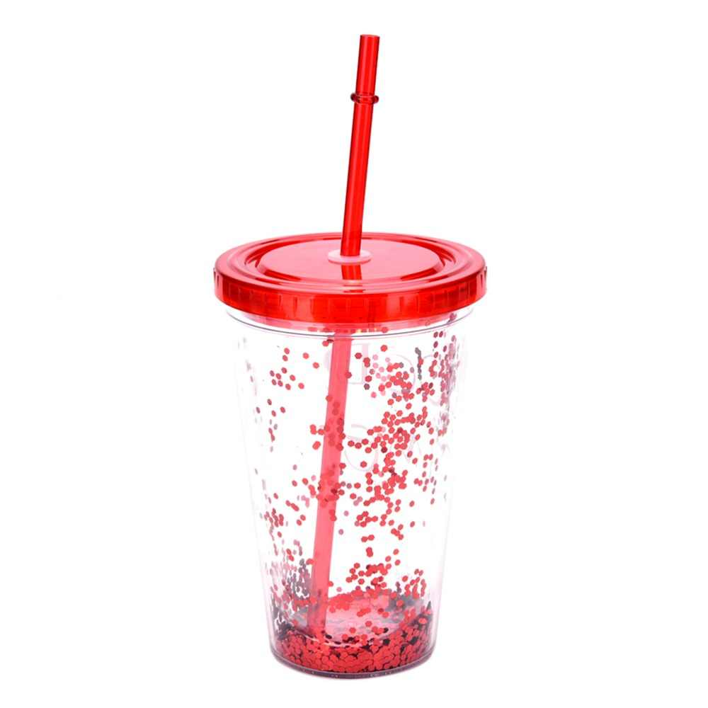 52773ccbe64 450ML BlingBling Summer bottle Double Plastic bottle with a Straw Water  Bottle for Outdoor School Creative Eco-Friendly bottle