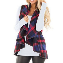 Autumn women plaid vest Long waistcoat winter Female warm wool turndown collar Jacket cloak Womens sleeveless cardigan Coat(China)