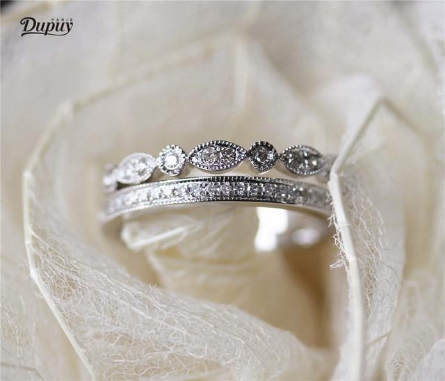 Dupuy 14k White Gold Wedding Ring Set Art Deco Half Eternity