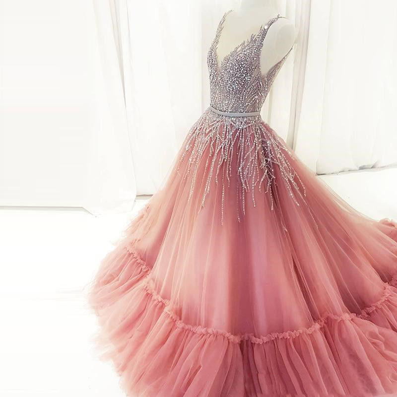 Luxury Long Evening Dress 2019 V Neck Crystal Beaded Ball Gown Saudi ...