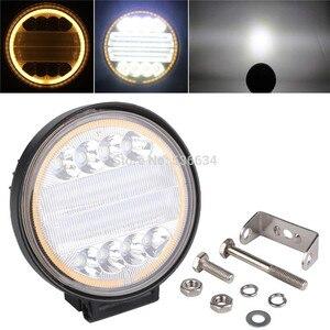 Image 2 - OKEEN Barra de luz LED de obra de 4 pulgadas y 120W, Combo de luces antiniebla 4x4 con ojos de Ángel, luz de conducción amarilla y blanca para camión