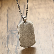 Men's Necklace with Blank Dog Tag