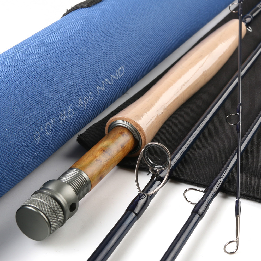 Maximumcatch NANO Carbon Fly rod 9ft 6wt 4pcs with Cordura tube Half-well FAST ACTION Fly fishing rod