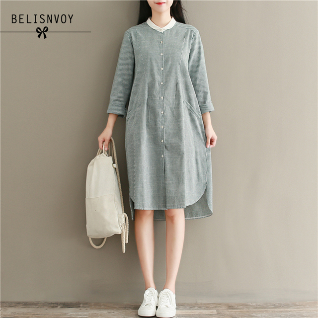 7443a1e513b 2018 Autumn Women Cotton Linen Dress Preppy Style Striped Long Sleeve Peter  Pan Collar Single Breasted