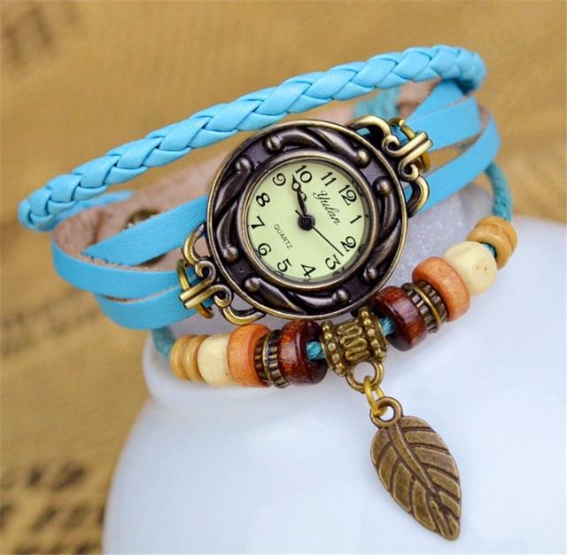 2015 New Hot Selling Women Leather Bracelet Watch Women Dress Watches leaf Pendant Vintage Quartz Analog WristWatch No.10