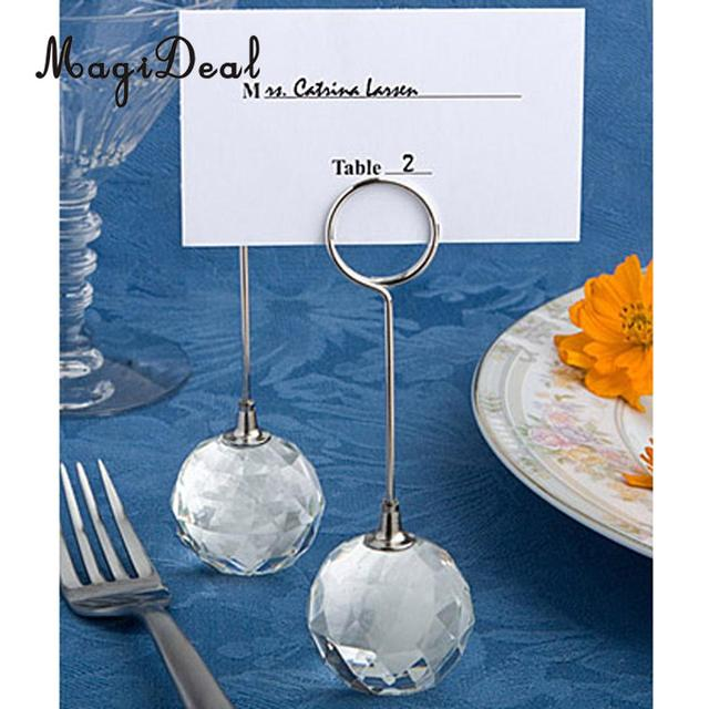 Magideal 12pcs Clear Crystal Ball Base Photo Note Number Name Place Card Holders Wedding Birthday Banquet