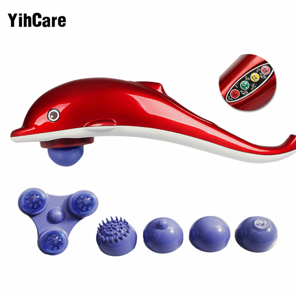 YihCare Full Body Massager Dolphin Electric Cervical Vertebra Massage Device Infrared Massage Hammer Stick Back Relax Instrument electric relaxing massage pillow body massager neck back cervical vertebra massagers for good health mat device heater equipment