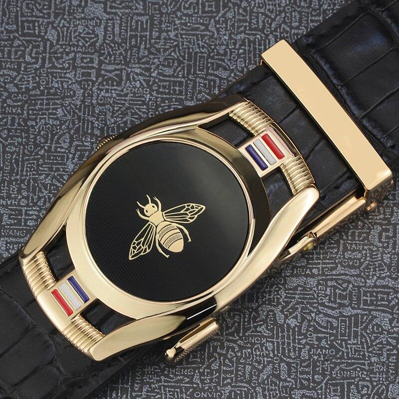 Luxury Men Crocodile Leather Ratchet Belt Automatic Buckle Waistband Strap Waist