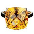 EDI Exuberante 8.7CT Cojín Natural Cristal Amarillo Alice 9 k Oro Amarillo Citrino Anillo de Compromiso Para la Mujer Joyería Regalos