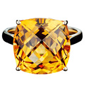 EDI Luxuriant  8.7CT Cushion Cut Natural Yellow Crystal Alice 9k Yellow Gold Citrine Ring For Women Engagement Jewelry Gifts