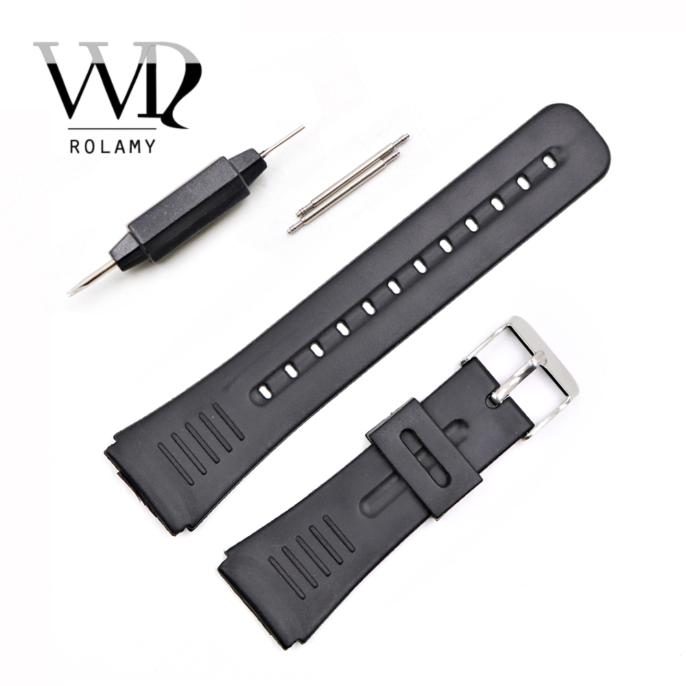Rolamy 22mm Watch Band Strap Silicone Rubber Silver Polished Pin Spring Bar Buckle Black Replacement Straight