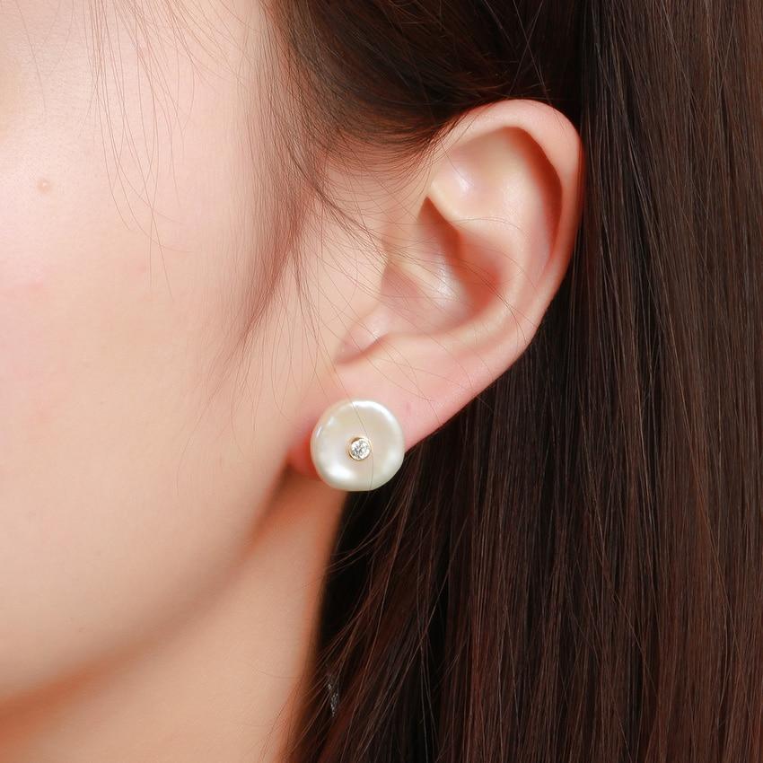 Hongye Nyata Alam Mutiara Air Tawar Datar Baroque 925 Sterling Silver - Perhiasan bagus - Foto 6