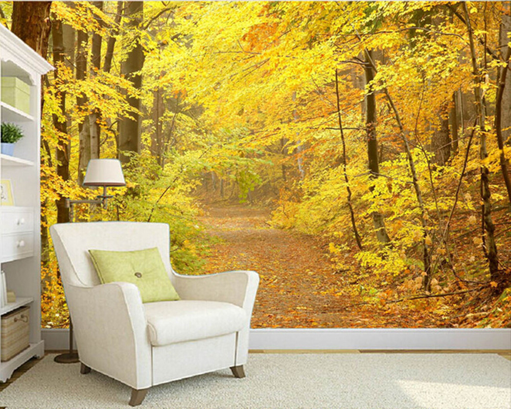 Custom nature wall murals, woods sunlight trail landscape paintings to the bedroom TV KTV wall waterproof vinyl papel DE parede edouard dujardin we ll to the woods no more