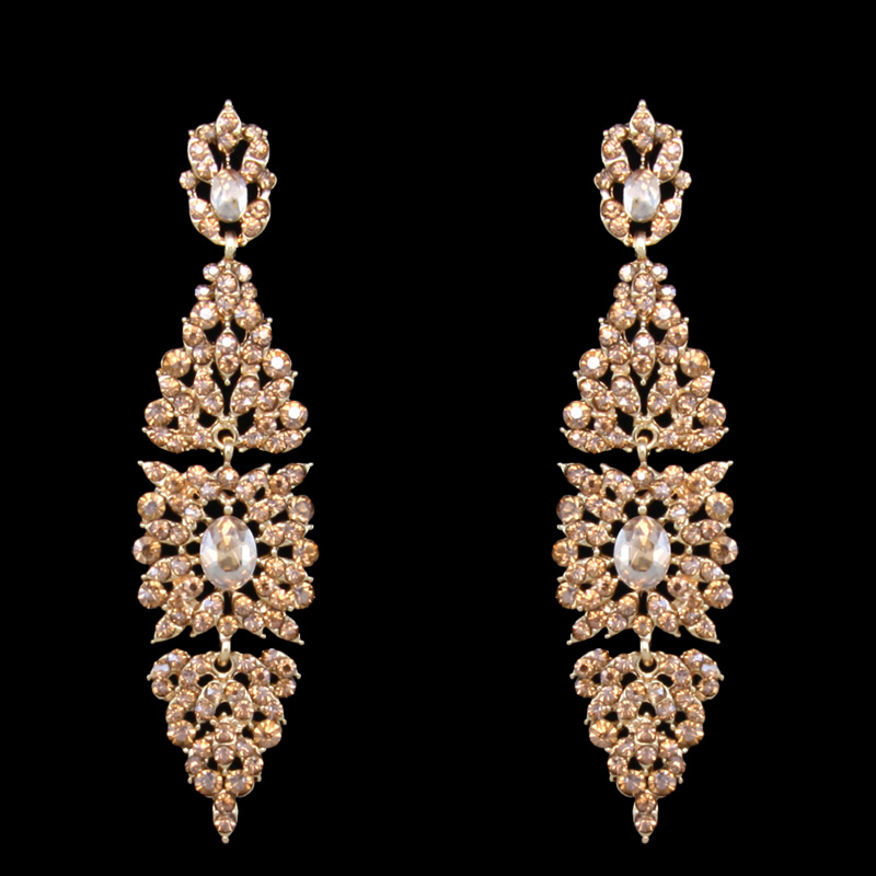 Flola Rhinestone Chandelier Earrings For Women Party Wedding Gold Long Fashion Jewelry Gift Ersh67 In Drop From