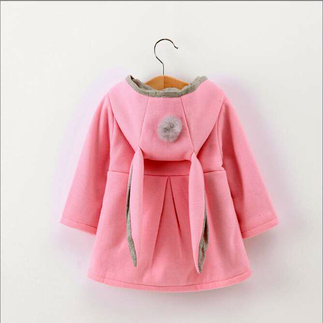 ee350902d54d Girls Coat New Girls Long Rabbit Ear Hooded Jacket Autumn Winter ...