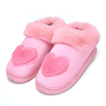 New Arrival Heart-Shaped Cotton Women Slippers Warm Plush Winter Fur Slippers Soft Indoor Shoes Flat With Home Slippers 5