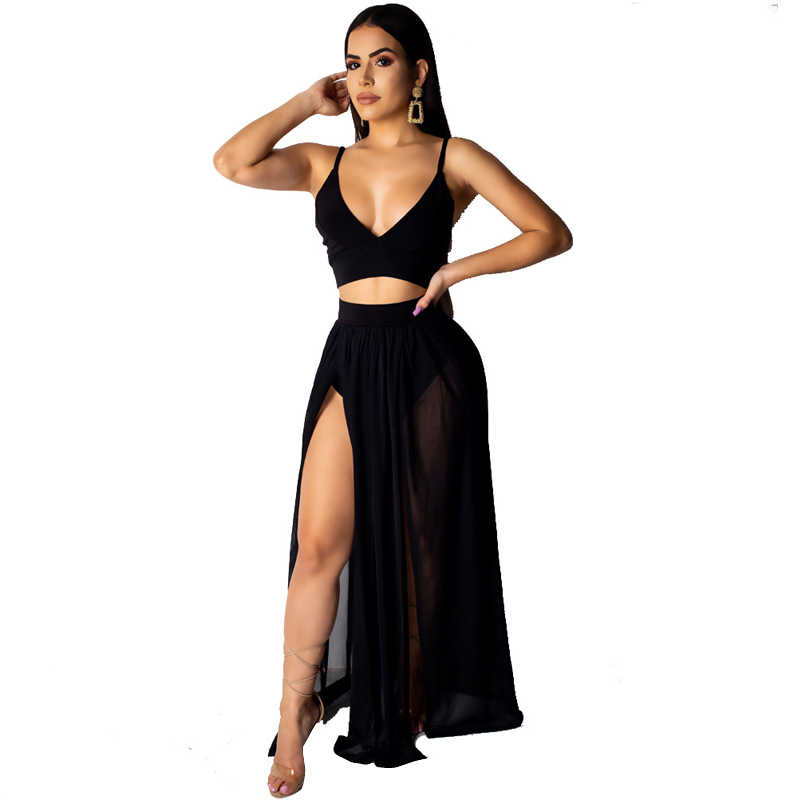 ca685c684ecfb LSZYOWS Summer Women Two Piece Set Strap Sexy Crop Tops And Chiffon Maxi  Skirt 2 Piece Set High Split Casual Beach Party Outfits