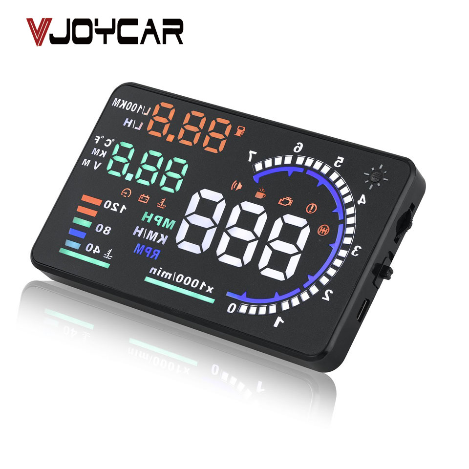 Vjoycar A8 5.5 HUD car head up display LED parabrisas proyector OBD2 escáner advertencia de velocidad consumo de combustible diagnóstico de datos