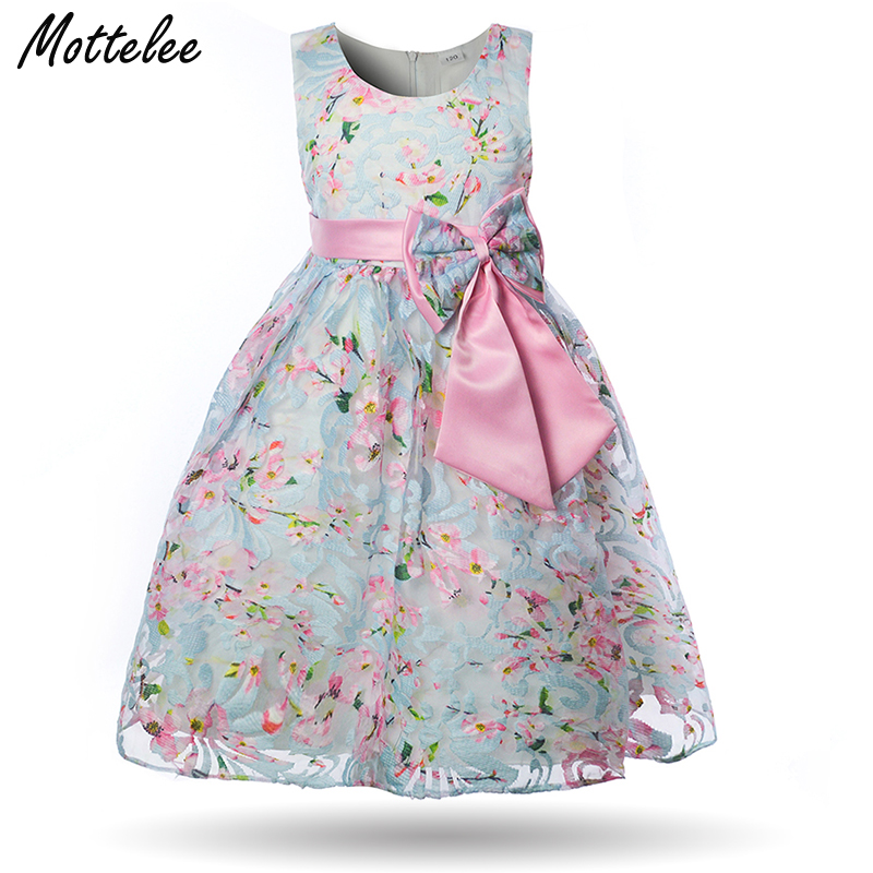 Mottelee Elegant Girls Dress Princess Kids Party Ball Gown Vintage Flower Blue Pink Baby Dresses 2018 Chic Fancy Bow Girl Frock