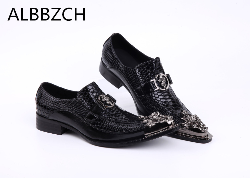 Fashion luxury metal pointed toe buckle embossed genuine leather dress shoes men loafers luxury brand wedding