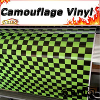 Black Army Green Chequered Flag Vinyl Film Car Sticker Wrap Vinyl Race Chequered Flag Car Wrapping Sheet With Air Free Bubble