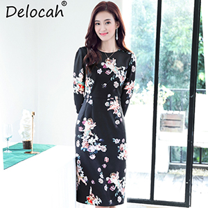 5  Delocah 2018 New Women Autumn Dress Runway Fashion Designs Long Sleeve  Sexy Party Angel Floral Print Black Midi Elegant Dress-in Dresses from  Women s ... 1220a041600e