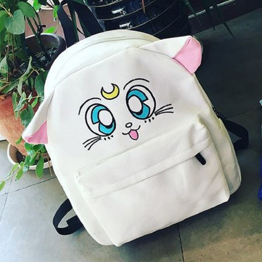 Official Canvas Backpack Sailor Moon Backpack Cute Fold Cat Shoulder Bag School Bags For Teenager Girls Rucksack Mochila