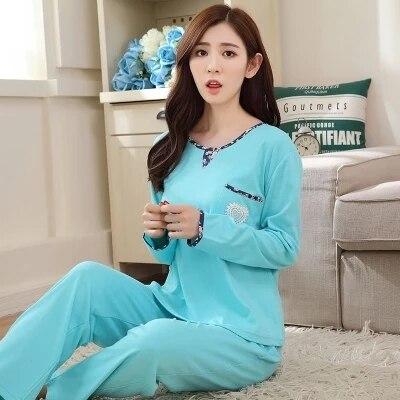 Осень пижамы женщин весной и осенью хлопок с длинными рукавами милый хлопок свободные случайные женские spyjamas женщины дамы пижамы