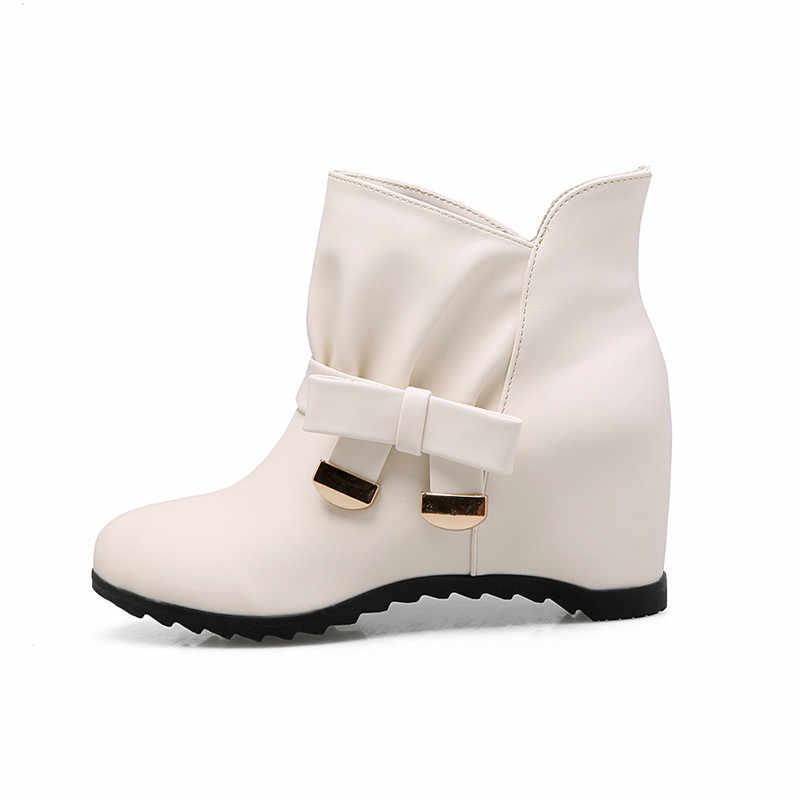 MEMUNIA 2020 yeni varış yarım çizmeler kelebek düğüm tatlı kadın ayakkabısı yuvarlak ayak yüksek topuklu çizmeler kadınlar üzerinde kayma rahat ayakkabılar
