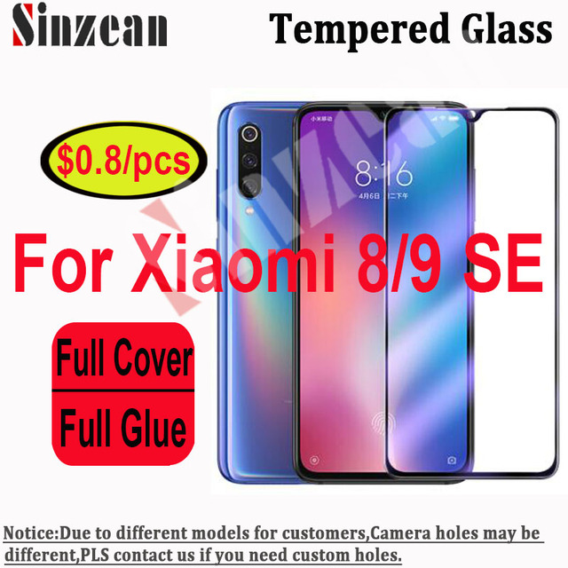 Sinzean 25pcs For Xiaomi mi8 SE/lite/8 Pro/8 Youth 2.5D Full Cover Tempered Glass For Xiaomi 9SE Full Glue Screen Protector Film
